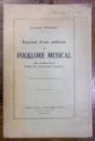 ESQUISSE D'UNE METHODE DE FOLKLORE MUSICAL de CONSTANTIN BRAILOIU - CONTINE DEDICATIA  AUTORULUI