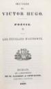 OEUVRES DE VICTOR HUGO , POESIE , LES CHANTS DU CREPUSCUPE , 1837