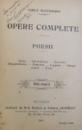 OPERE COMPLETE  - POESII de VASILE ALECSANDRI , EDITIE COMPLETA ,  1901