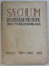 SAECULUM, REVISTA DE FILOSOFIE, ANUL I, NOV-DEC., 1943 de LUCIAN BLAGA