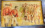 Tapiserie Romaneasca sfarsitul sec XIX , reprezentand pe Regele CAROL I si Marele Duce Nicolae primind drapelele capturate In luptele de la Plevna