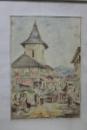Targ la Campulung Muscel, litografie colorata dupa Szathmary