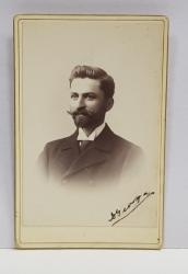 A. IHALSKY - BUCURESTI , FOTOGRAFIE TIP C.D.V. , TANAR CU BARBA   , MONOCROMA, PE SUPORT DE CARTON , SFARSITUL SEC. XIX