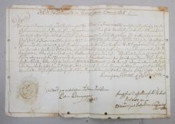 ACT OFICIAL SCRIS CU CARACTERE GOTICE IN LIMBA GERMANA , CU SIGILIU , DATAT 1787