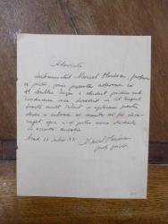 Adeverinta semnata de Marcel Olinescu, eliberata lui Dublea Eugen