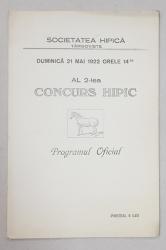 AL 2-lea CONCURS HIPIC, PROGRAM OFICIAL - TARGOVISTE, 1922