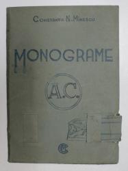 ALBUM CU DESENE FACUTE  MANUAL ( MONOGRAME )  , APARTINAND LUI CONSTANTIN N. MINESCU , PERIOADA INTERBELICA