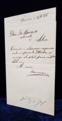 ARON DENSUSIANU (1837-1900)-SCRISOARE, BRASOV 25.06.1878