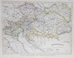 AUSTRIA LA 1849 , HARTA POLITICA , DENUMIRILE SI TERMENII IN LIMBA GERMANA , MIJLOCUL SEC. XIX