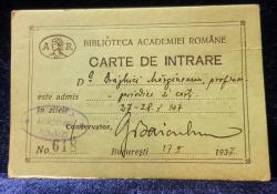 Biblioteca Academiei Romane, Carte de intrare