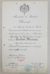 BREVET 'CRUCEA COMEMORATIVA A RAZBOIULUI 1916-1918 FARA BERETE'