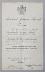 BREVET  DE ACORDARE A  ORDINULUI   ' COROANA ROMANIEI  '  CU SPADE IN GRAD DE CAVALER  , PENTRU DEVOTAMENT IN RAZBOIUL CONTRA RUSIEI SOVIETICE , ACORDAT LA 13 SEPTEMBRIE 1943