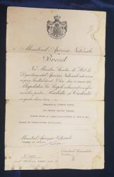 BREVET DE DECORARE CU MEDALIA  ' BARBATIE SI CREDINTA ' , SEMNAT DE MINISTRUL APARARII NATIONALE , GENERALUL DE DIVIZIE PANTAZI , DATAT 1942 , PREZINTA HALOURI DE APA *
