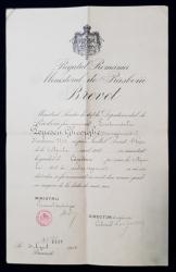 BREVET INAINTRARE LA GRADUL DE CAPITAN - BUCURESTI 1913