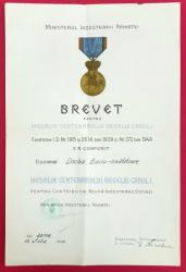 BREVET PENTRU MEDALIA CENTENARULUI REGELUI CAROL I