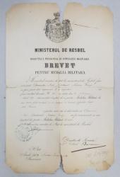 BREVET PENTRU MEDALIA MILITARA DE AUR , ACORDAT SUBLOCOTENENTULUI NENISOR GEORGE ,SEMNAT DE GENERALUL DABIJA , MINISTRU SECRETAR DE STAT ,  DATAT 1879