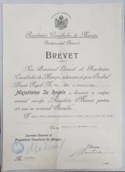 Brevet 'Rasplata Muncii pentru 25 ani in serviciul Statului', 1941