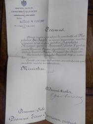 Brevet semnat de Spiru Haret si P. Garboviceanu, Bucuresti 1907