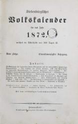 Calendarul Transilvaniei pentru anul 1872 - Sibiu, 1872