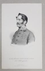 CARL FURST( PRINT )  SCHWARZENBERG , GRAVURA PE METAL de J. HOFELICH , TIPARITA LA SIBIU , SEC. XIX