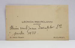 CARTE DE VIZITA APARTINAND AVOCATULUI LEONIDA MAVROJANNI , CU MESAJ DE FELICITARE , 1937