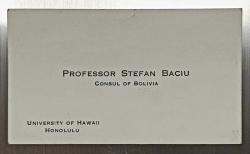 Carte de vizita 'PROFESOR STEFAN BACIU'