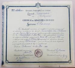 CERTIFICAT DE ABSOLVIRE A LICEULUI, Sectiunea Clasica, 1922
