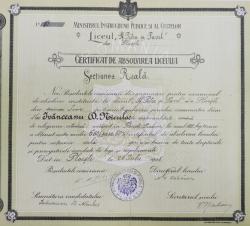 Certificat de absolvire a liceului Sfinții Petru și Pavel ,Ploiești 1908