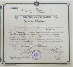 Certificat de  absolvire a Liceului
