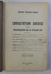 CHESTIUNEA TRAMVAELOR COMUNALE . CONSULTATIUINI JURIDICE VOL. I - II de H. BERTHELEMY , GASTON JEZE , ETC , 1912