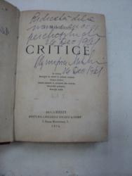 CRITICE- TITU MAIORESCU- EDITIA I- BUC.1874