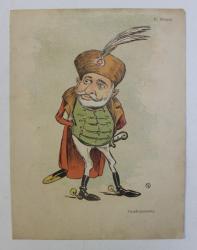D. STURZA , ' PSEUDO - JESZENSKY ' , CARICATURA , LITOGRAFIE de pictorul NICOLAE PETRESCU - GAINA 1871 - 1931 , 1898