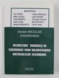 DEZVOLTARE DURABILA IN SIDERURGIE PRIN VALORIFICAREA MATERIALELOR SECUNDARE , coordonator AVRAM NICOLAE , 2004