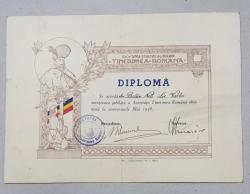 Diploma concursurile jubiliare, Societatea Tinerimea Romana, 1938