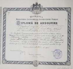 DIPLOMA DE ABSOLVIRE LA LICEUL MIHAI VITEAZUL DIN BUCURESTI , EMISA LA 28 IUNIE 1906 , CONTINE SEMNATURA LUI GHE. TITEICA *