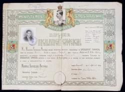 DIPLOMA DE BACALAUREAT COMERCIAL , BUCURESTI , 1939