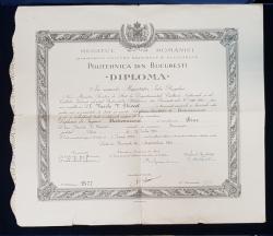 DIPLOMA DE INGINER ELECTROMECANIC, BUCURESTI, 1943