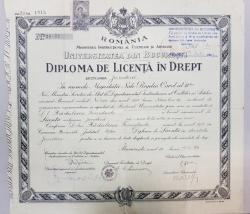 DIPLOMA DE LICENTA IN DREPT 'CAROL II', 1939