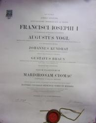 DIPLOMA FRANZ JOSEPH I , 1888