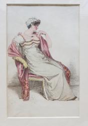 DOAMNA  CU ROCHIE SI MANTIE ROZ , ASEZATA PE SCAUN , GRAVURA ORIGINALA ACKERMANN , COLORATA MANUAL , DATATA 1812