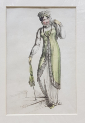 DOAMNA IN TINUTA DE STRADA , CU UMBRELA VERDE , GRAVURA ORIGINALA ACKERMANN , COLORATA MANUAL , DATATA 1812