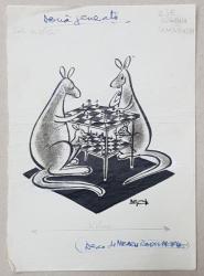 DOUA GENERATII , CARICATURA de NEAGU RADULESCU , 1965