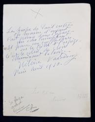 ELENA VACARESCU, SCRISOARE datata APRILIE 1910