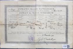 EXTRACT DIN MATRICULA BOTEZATILOR A BISERICEI PAROHIALE ROMANO - CATOLICE SFANTA MARIA BARATIA DIN BUCURESTI , ELIBERAT LA 16 DECEMBRIE 1910