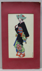 FEMEIE IN COSTUM TRADITIONAL JAPONEZ LITOGRAFIE