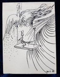 FLORIN PUCA  - DESEN ORIGINAL IN PENITA ,  ' PERSONAJ CU PASARE ' SEMNAT SI DATAT 1986