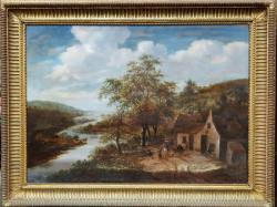 George Morland (1763-1804)  - Casa de langa rau