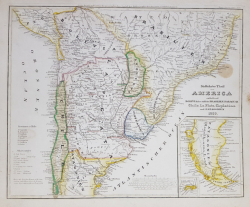 HARTA GERMANA  - AMERICA DE SUD , PARTEA DE SUD , CU BOLIVIA , SUDUL BRAZILIEI , CHILE , LA PLATA (  ARGENTINA ) , CISPLATINA SI PATAGONIA , 1850