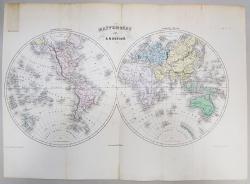 HARTA LUMII CU CELE DOUA EMISFERE  de A. H. DUFOUR ,GRAVURA COLOR ,  MIJLOCUL SEC. XIX