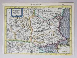 HARTA  ' ROMANIE - WALACHIA , SERBIA , BULGARIA , ROMANIA ' de JOHANNES JANSSONIUS , GRAVURA COLORATA MANUAL, CCA. 1640